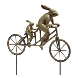 "SPI - Tandem Bicycle Bunnies Garden Sculpture - -Size: 28.5"" H x 28"" W x 8"" D"