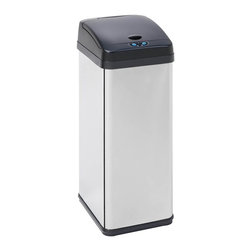 Honey Can Do - 52 Liter Square Sensor Touch-Free Trash Can - Includes liner bucket with handle. Carrying handle. Easily wiped clean. 52L capacity. Stainless steel construction. Plastic lid