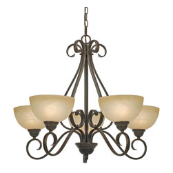Golden Lighting - Riverton 5-Light Chandelier - Give your dining room a dose of drama without the rowdy guest list. This five light chandelier features glass globes that offer diffused light to any meal, homemade or takeout.