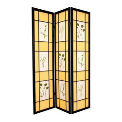 Oriental Furniture - 6 ft. Tall Herbal Floral Shoji Screen - 3 Panel - Black - For the budding botanist, this beautiful room divider features illustrations of herbs and flowers printed on the front. Constructed from Scandinavian spruce and opaque, fiber-reinforced paper panels, it is a lightweight, airy floor screen perfect for adding a fresh garden accent to any home interior.