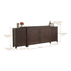 """Monterey TV Lift Cabinet With Side Cabinets For Flat Screen TV's Up To 55"""" - The Monterey is a distinctive solid wood cabinet that balances crisp lines with a rich espresso finish to compliment a variety of decorating tastes."""