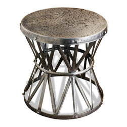 Kathy Kuo Home - Araby Rustic Hammered Metal Antique Silver Side Table- Large - Constructed from hand hammered iron- finished in a deep antique silver finish, this beautiful piece adds depth, and visual texture to any room. Hand made, no two are alike. Larger version available