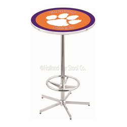 Holland Bar Stool - Holland Bar Stool L216 - 42 Inch Chrome Clemson Pub Table - L216 - 42 Inch Chrome Clemson Pub Table  belongs to College Collection by Holland Bar Stool Made for the ultimate sports fan, impress your buddies with this knockout from Holland Bar Stool. This L216 Clemson table with retro inspried base provides a quality piece to for your Man Cave. You can't find a higher quality logo table on the market. The plating grade steel used to build the frame ensures it will withstand the abuse of the rowdiest of friends for years to come. The structure is triple chrome plated to ensure a rich, sleek, long lasting finish. If you're finishing your bar or game room, do it right with a table from Holland Bar Stool.  Pub Table (1)