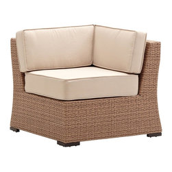"Strathwood - ""Strathwood Griffen Wicker Sectional Corner Chair, Natural"" - ""The Strathwood Griffen collection helps transform any porch, patio, or back deck into a welcoming place to visit with friends or to simply enjoy a bit of tranquility. As part of the Griffen collection, this all-weather sectional corner chair gracefully combines savvy structure with high-quality comfort. The chair's contemporary style and bold profile make it a beautiful addition to any outdoor furniture collection. The sectional corner chair features a durable yet lightweight powder-coated aluminum frame covered in woven, resin wicker with a warm, rich, hue. For enhanced comfort, the chair also comes with a seat cushion and two back cushions. All three cushions are made of 100% polyester fabric in a soft beige color with piping along the edges for a neatly tailored look. Tastefully designed to blend with almost any decor, the sectional corner chair can be used on its own, with existing outdoor furniture pieces, or as part of the coordinating Griffen furniture collection from Strathwood (dining and lounge pieces sold separately). The sectional corner chair measures 33.5 inches long by 33.5 inches deep by 29.1 inches high and weighs 20 pounds. The chair comes fully assembled. Cushion Care and Cleaning: Gently brush off dirt before it becomes embedded in the fabric and wipe up any spills as soon as they occur. Gently spot clean only with mild soap and cool water using a sponge or soft brush, then air dry the cushion in a sunny location. Both the sofa and the cushions/pillows should be brought indoors or securely covered during inclement weather and stored in a dry place when not in use."""