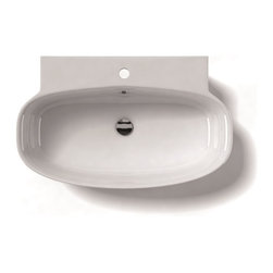 "WS Bath Collections - LVO 29.5"" x 18.3"" Ceramic Bathroom Sink - Grace 75A by WS Bath Collections, Bathroom Ceramic Washbasin/ Sink, 29.5 x 18.3 Wall-Mount or Countertop Installation, with or without Faucet Hole, with Overflow, Made in Italy Recommended Drain Linea 53995, Decorative Trap Linea 53922"