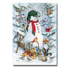 "Flagline - Woodland Snowman Toland Art Banner - Made from high grade polyester our banners use a sublimation dye process that creates the highest quality and most durable flags available. Fade and mildew resistant. Machine washable. The Woodland Snowman decorative banner measures 28"" x 40""."