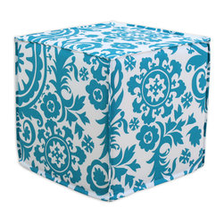 "Chooty - Chooty Suzani Turquoise Collection 17"" Square Seamed Foam Ottoman - Insert 100 High Density Foam, Fabric Content 100 Cotton, Color Turquoise, White, Hassock 1"