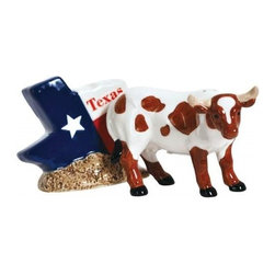 Westland - 2.75 Inch Texas Flag Shape with Longhorn Salt and Pepper Shakers - This gorgeous 2.75 Inch Texas Flag Shape with Longhorn Salt and Pepper Shakers has the finest details and highest quality you will find anywhere! 2.75 Inch Texas Flag Shape with Longhorn Salt and Pepper Shakers is truly remarkable.