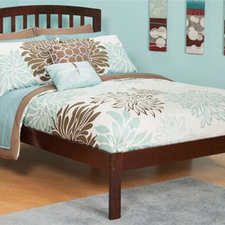 Atlantic Furniture - Eco-friendly Wooden Platform Bed (Twin in Ant - Finish: Twin in Antique WalnutIncludes open foot rail. Warranty: One year. Twin: 77 in. L x 41.63 in. W x 41.5 in. H (57 lbs.). Full: 77 in. L x 55.88 in. W x 44.5 in. H (77 lbs.). Queen: 82.5 in. L x 62.63 in. W x 44.5 in. H (85 lbs.). Bed Assembly Instructions. Headboard Assembly InstructionsThe sleek bowed style and traditional slats compile a classic look for the Richmond. The open head rail design promotes a vertical synergy that will mate nicely with any room setting .