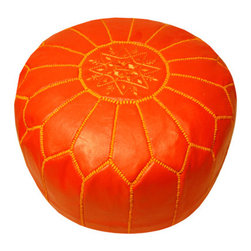 Moroccan Pouf, Coral - The leather Moroccan pouf has become a chic classic. This color is wonderful too. Perfect for extra seating and a pop of color.