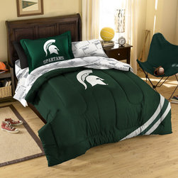 Northwest Co. - College Michigan State Bed in Bag Set - Make your room announce, A true College sports fan lives *and* sleeps here!  Our College 7 piece Bed in a Bag Sets make an ideal central point for all your other team gear.  Whether game night or just another night for sleeping, the bold and large applique logo stands out against the solid color background, making quite the impression.  This polyester/cotton blend set comes with 2 sham, 2 pillowcase, 1 flat sheet, 1 fitted sheet and 1 applique comforter.