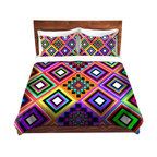 DiaNoche Designs - Duvet Cover Twill by Organic Saturation - Fiesta Native Inspired - Lightweight and soft brushed twill Duvet Cover sizes Twin, Queen, King.  SHAMS NOT INCLUDED.  This duvet is designed to wash upon arrival for maximum softness.   Each duvet starts by looming the fabric and cutting to the size ordered.  The Image is printed and your Duvet Cover is meticulously sewn together with ties in each corner and a concealed zip closure.  All in the USA!!  Poly top with a Cotton Poly underside.  Dye Sublimation printing permanently adheres the ink to the material for long life and durability. Printed top, cream colored bottom, Machine Washable, Product may vary slightly from image.