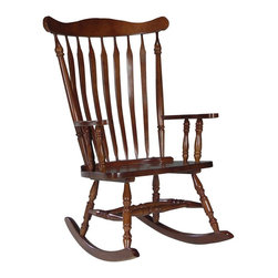International Concepts - Solid Wood High-Back Rocking Chair in Cherry - Timeless and classic with country inspired design elements, this solid wood rocking chair will be an appealing addition to any decor. Featuring turned legs and arms and a slat back, the rocker is finished in rich cherry and will easily inspire visions of lazy summer days spent sipping lemonade on a breezy front porch. Made from Solid Wood. Assembly required. Weight capacity: 225 lbs.. 17.5 in. Seat Height. 28 in. W x 36 in. L x 44.50 in. H (36 lbs.)