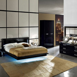 Made in Italy Leather Modern Contemporary Bedroom Designs with Underbed Led - Chic led bedroom set la star with leather accents Italian made. The stunning La Star Bedroom Set from Camelgroup (Italy), Platform Bed, two Maxi Night, Double Dresser, and Maxi Mirror.