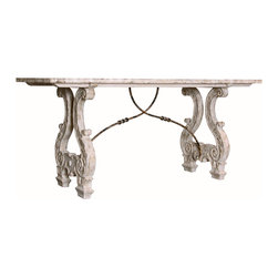 Kathy Kuo Home - Italian Lyre Base Rustic Country Antique Console Table - The ornate carving on this antiqued, whitewashed table lend it an authentic European look, while the sweeping metal detailing and graceful curves give it historical whimsy. Place this console in your urban loft's entryway for a stunning first impression or use as a beautiful media center within your French country living room.
