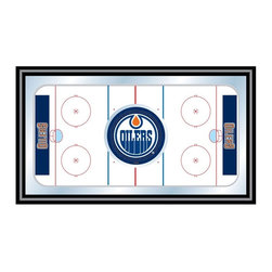 Trademark Global - Framed Hockey Rink Mirror w NHL Edmonton Oile - With the Edmonton Oilers logo in the center of an aerial view of a hockey rink, this colorful wall mirror will be a great gift idea for your favorite sports fan. The mirror has a blue and white color palette and would be great behind a bar or as part of any game room decor. Great for gifts and recreation decor. Mirror with print. Black wrapped wood frames. 26 in. W x 15 in. H (10 lbs.)This National Hockey League Officially Licensed Hockey Rink Wall Mirror is the perfect gift for the Hockey Fan in your life.