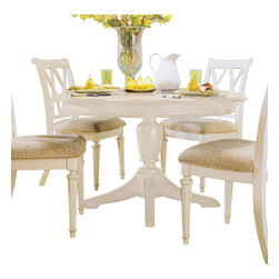 American Drew - American Drew Camden-Light Round Table in White Painted - Round Table in White Painted belongs to Camden-Light collection by American Drew The Camden-Light collection melds simple forms with quiet traditional references, gentle curves and a beautiful time worn ivory finish that lets the character of the wood show through. The brushed nickel finish hardware adds even more character to the Camden collection. This line will work great in your renovated farm house or a smaller beach cottage get-away.