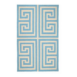 "Blue Greek Key Hook Rug 3X5"" - BLUE GREEK KEY HOOK RUG 3X5"""