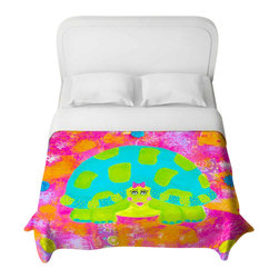 DiaNoche Designs - Tessa the Turtle Duvet Cover - Lightweight and super soft brushed twill duvet cover sizes twin, queen, king. Cotton poly blend. Ties in each corner to secure insert. Blanket insert or comforter slides comfortably into duvet cover with zipper closure to hold blanket inside. Blanket not included. Dye Sublimation printing adheres the ink to the material for long life and durability. Printed top, khaki colored bottom. Machine washable. Product may vary slightly from image.