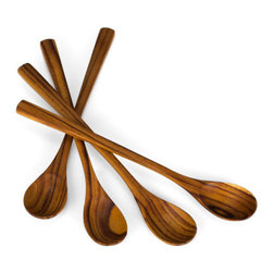 """Bambeco Teak Set of Four Long Spoons - Iced tea never had it so green Whether stirring your tea or spooning up a rootbeer float, our Teak Set of 4 Long Spoons puts the beauty of sustainable teak to use in a practical way. Made from excess materials from the logging industry, no new trees are cut down to create these products Handmade and unique, no two are exactly alike and sizes may vary slightly.  Dimensions: approx. 8"""" Care: Hand wash with mild soap and water."""