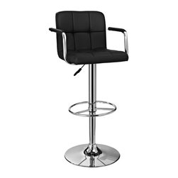 Powell Furniture - Quilted Barstool in Black and Chrome - Unique contemporary design. Combines function, comfort and style. Black quilted faux leather and height adjustable seat with gas lift. Round sturdy footrest. Weight capacity: 300 lbs.. BIFMA 5.1 and EN1335 standard testing passed and approved. Made from ABS, metal. Minimal assembly required. Seat height: 22 in. - 31.5 in.. Overall: 20.5 in. W x 20.5 in. D x 36.25 in. - 45 in. H (28 lbs.)