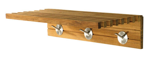Westminster Teak Furniture - Westminster Teak Shelf - Give your bathroom a spa vibe or create a changing area poolside with this teak shelf and towel rack. Robes, towels, jackets or winter accessories will be well hung on the solid stainless steel hardware hooks. So whether you hang it in a mudroom, cabana or lavatory, the ecofriendly, waterproof teak will stand the test of time.