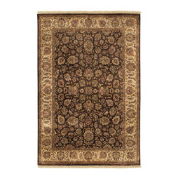 "Heirloom HLM-6001 Brown Rug - 8'6""x11'6"" - Heirloom HLM-6001 Brown: Traditional rugs inspired by Persian rugs, Antique Oriental rugs or other traditional area rugs are available now. ModernRugs. om is now also featuring traditional rug designs. Traditional Persian and Oriental rugs from ModernRugs. om are now available in a variety of colors and styles, and complement any space. Our traditional Persian rugs provide an elegant look. These Traditional antique Oriental rugs are timeless and add a touch of class to your home. This Persian area rug is Hand Knotted in India with 100% Semi-Worsted New Zealand Wool. The specific colors of this rug include Brown, Cream, Mint, Cinnamon, Jade, Burgundy. he primary color of this rug is brown."