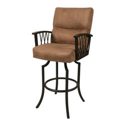 "Pastel Furniture - Ravenwood Swivel Barstool - The Ravenwood barstool with arms brings traditional style with comfort to any home. This swivel barstool features a quality metal frame with sturdy legs and foot rest finished in Autumn Rust. The padded seat is upholstered in Topanga Brown offering comfort and style. Available in 26"" counter height or 30"" bar height. Assembled dimensions for this barstool: 46.75H x 22W x 27D"
