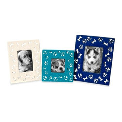 Dog Bone Ceramic Photo Frames - Set of 3 - *Your best, four-legged friend deserves to be framed in these fun, colorful ceramic photo frames decorated with dog bone and paw print cutouts.