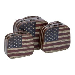 "Benzara - Beautiful Canvas Case with Vintage Look - Set of 3 - Beautiful Canvas Case with Vintage Look - Set of 3. Exuding a rich look and embraced with the U.S flag design, this spacious wood canvas case Set of 3, definitely deserves a place in your home. It comes with a following dimension 13""W x 12""D x 6""H. 11""W x 10""D x 4""H. 10""W x 9""D x 3 1/2""H."