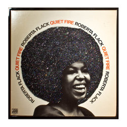 "Glittered Roberta Flack Quiet Fire Album - Glittered record album. Album is framed in a black 12x12"" square frame with front and back cover and clips holding the record in place on the back. Album covers are original vintage covers."