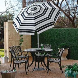 Parasol - Striped 6-ft. Bistro Umbrella Multicolor - MMW005-2-SP - Shop for Patio Umbrellas from Hayneedle.com! It's tough to choose but you'll be sure to find the perfect Striped 6-ft. Bistro Umbrella among our huge variety of patterns and colors. This umbrella is a great choice - it features weather-resistant solution-dyed acrylic fabric that will last season after season. A super-easy push-button tilt allows you to angle the umbrella wherever the sun is beating down. The aluminum pole comes in your choice of heights. This umbrella provides 6 feet of shade so you can relax in comfort all summer long.Standard Pole91-inch total height Separates into 2 sections Bottom pole measures 36 inches Bar-Height Pole99-inch total height Separates into 2 sections Bottom pole measures 45 inches