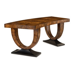 """John Richard - John Richard Curved Walnut Desk EUR-02-0185 - Exquisitely matched European walnut curl, veneered to the top and """"u"""" shaped ends, is aged by a traditional French polish technique. The front rail conceals a pen drawer while the ends have ebonized plinths."""