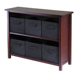 Winsome Wood - Winsome Wood Verona 2-Section W Storage Shelf w/ 6 Foldable Black Fabric Baskets - 2-Section W Storage Shelf w/ 6 Foldable Black Fabric Baskets belongs to Verona Collection by Winsome Wood This storage shelf comes with 6 foldable black fabric baskets. Warm Walnut finish storage shelf is perfect for any room in your home. Use it alone as bookcase/shelf or with baskets for a complete storage function. Assembly required for shelf. Shelf (1), Basket (6)