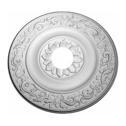 """Renovators Supply - Ceiling Medallions White Urethane Ceiling Medallion 47"""" Dia - Ceiling Medallions: Made of virtually indestructible  high-density  urethane our medallions are cast from  steel molds  making them the highest quality on the market. Steel molds provide a higher quality result for  pattern consistency, design clarity & overall strength & durability.  Lightweight they are  easily installed  with no special skills. Unlike plaster or wood urethane is resistant to  cracking, warping or peeling.   Factory-primed  these medallions are ready for finishing. NOTE: Images medallions with a center opening may not be represented to scale, appearing larger or smaller than they actually are."""