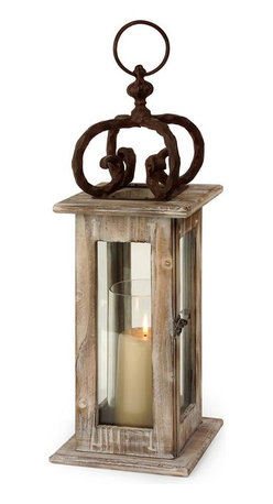 Imax Worldwide Home - Scandinavian Lantern - Scandinavian washed natural wood lantern with glass hurricane and wrought iron. Candleholders. 21.75 in. H x 7.25 in. W x 7.25 in. D. 60% Pine Wood 20% Glass 20% Wrought Iron