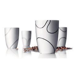 MENU - Thermo Cups, Medium, Black Contour, Set of 4 - Whether you take your tea piping hot or ice cold, you'll be sipping in style with a set of these cups. Their signature design keeps beverages temperature controlled and would surely complement any modern home.
