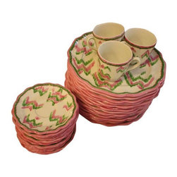 Pre-owned Pink and Green Ikat Patterned Dining Set - This pink and green Ikat patterned tableware is about as girly and charming as it gets. The bright colors pop against the crisp white plates rimmed in pink. The set includes: 15 10 �_ dinner plates, 15 saucers and 9 tea cups. In great vintage condition, with only minor chips on the rims.