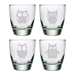 Susquehanna Glass - Owls Classic Double Old Fashioned Glass, 13oz, S/4 - Each curvaceous 13 ounce tumbler features a different sand etched owl design. Dishwasher safe. Sold as a set of four. Made and decorated in the USA.