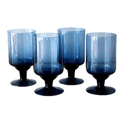 Consigned - Blue Stemware, Set of 4 - Mid Century style glass stemware. Rich blue color. Set of four is in excellent condition with no chips or cracks.