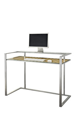 "Walker Edison - Walker Edison 48"" GMW Executive Desk in Brushed Silver and Natural - Walker Edison - Computer Desks - D48GMWSNL - This distinct executive computer desk is the perfect addition to any home office or study. The spacious, open design offers optimal work space and features an elevated, built-in monitor shelf. Its unique, natural color wood accents give this desk intrigue and depth. Crafted from a hand-brushed silver steel frame with a clear, gloss finish and thick, tempered safety glass, these together create a solid construction."