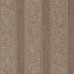Sublime Mauve Scroll Stripe Wallpaper Bolt - A majestic stripe wallpaper like fine embroidered silk in an exquisite burgundy and brass palette.