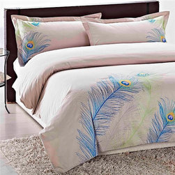 Buy.com - Embroidered Peacock King-size 3-piece Duvet Cover Set -