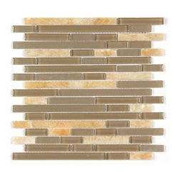 Stone & Co - All Marble Mosaic Glass and Stone blend Random Strip 12 x 12 Mosaic Tile Mag-444 - All Marble Mosaic Glass and Stone blend Random Strip 12 x 12 Mosaic Tile Mag-4442-ST