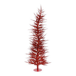 "Vickerman - Red Laser Tree 100Cl 889T (5' x 24"") - 5' x 24"" Red Laser Tree 100 Clear Mini Lights 889 PVC tips, with metal base."