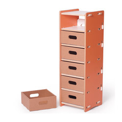 Multi-drawer Organizer, Orange and White