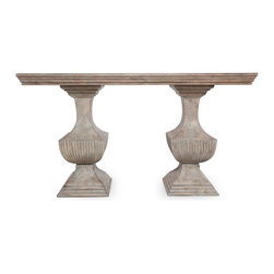 Hooker Furniture - Urn Console - You know you like to make a grand entrance, but this table may just upstage you. With its shapely urn bases and stacked molding top, it's washed in a combination of cream, taupe and oyster finishes for old world grandeur in your entry, living room or bedroom.
