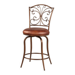 """Linon Home Decor - Linon Home Decor Butterfly Back Counter Stool X-U10LTM255430 - Charming and chic, the Butterfly Back Counter Stool is crafted for fashion and function. The eyecatching decorative back resembles a butterly and is finished in an antique gold. A plush Coffee Brown Faux Leather seat provides long lasting comfort. Thin flared legs complete the delicate look of the piece. 24"""" Seat Height. 275 pound weight limit."""