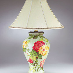 Rose Bouquet Table Lamp - Bring your garden inside with this beautiful hand-painted Rose Bouquet Table Lamp.   This lamp would be delightful in a guest room or master bedroom with it feminine floral design.