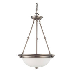 Nuvo Lighting - Brushed Nickel Three-Light Pendant with Frosted White Glass - Brushed Nickel Three-Light Pendant with Frosted White Glass Nuvo Lighting - 60/3247